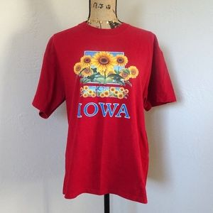 Vintage Red Iowa Sunflower T-Shirt Size Large